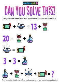 Math Puzzles Brain Teasers, Printable Brain Teasers, Math Logic Puzzles, Math Games, Best Brain Teasers, Brain Teasers With Answers, Brain Teasers For Kids, Math Talk, Math Task Cards