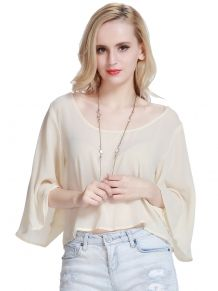 Beige Flared Sleeve Chiffon Cropped Blouse