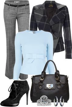 """Blue/Grey"" by missred76 on Polyvore"