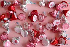 Easy Valentine's Hershey Kisses labels