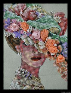 """Victorian Lady."" Cross stitch with ribbon."
