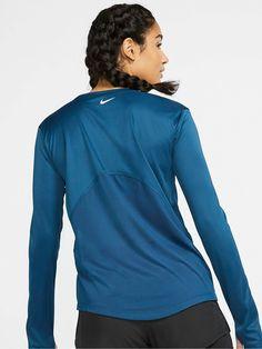 Nike Running Ls Miler Top - Valerian Blue , Valerian Blue, Size S, Women - Valerian Blue - S High Leg Boots, Long Toes, Nike Running, Long Sleeve Tops, Kids Fashion, Mesh, Blue, Women, Products