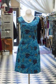 Cabaret Vintage - Blue Pattern Vintage Day Dress , $125.00 (http://www.cabaretvintage.com/category/blue-pattern-vintage-day-dress/)