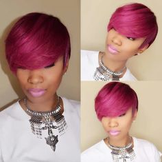 New burgundy gold queens hair products peruvian virgin hair lace front human hair wigs short hair cuts full lace wig with bangs Short Sassy Hair, Short Hair Cuts, Short Hair Styles, Pixie Styles, Short Pixie, Dope Hairstyles, Black Hairstyles, Hairstyle Ideas, Queen Hair