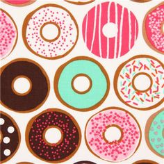 white donut fabric pink mint sweets Robert Kaufman
