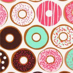 white donut fabric pink mint sweets Robert Kaufman