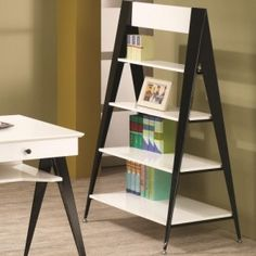 Cool MidCentury Modern Bookcases: Loni Contemporary Retro Black And White  Bookshelf