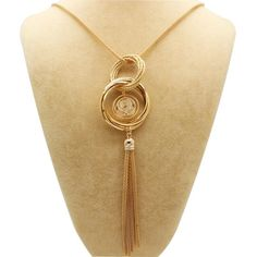 Simple Design Silver Plated Double Circles Long Necklaces & Pendants Statement Tassels Necklace Colares Femininos Women Jewelry