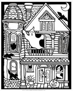 Giant Free Printable Halloween Haunted House Coloring Page