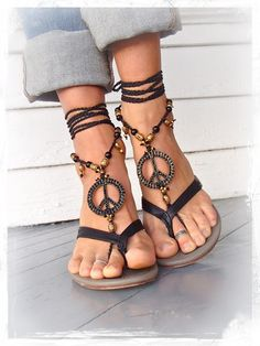 PEACE sign BAREFOOT sandals Black and Gold Gypsy Sandals New Years Party bottomless shoes Crochet Toe thongs Black sandal Garden wedding yes.