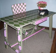 Horse Ranch Main House:  Re-painting of my desk, it was antiqued off-white previously and I decided I needed color.