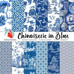 Chinoiserie Digital Paper Chinese patterns blue & white   Etsy