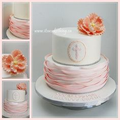 Still playing catch up on Cakes Decor. Here's one of my favourite types of cake to make. Made back in April. Pretty Ruffles and a flower. Always elegant and perfect for a little princess on her Baptism Day. God Bless you Giulia!
