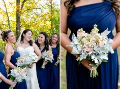 Peach and grey bridesmaid bouquets, navy bridesmaid dresses, white and grey bridal bouquet with patience roses.  Carley Rehberg Photography