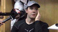 Ryan Johansen gets hit with a tape ball during an interview.