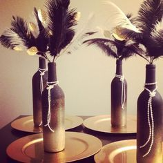 Roaring 20s centerpieces. Perfect for a Great Gatsby birthday party