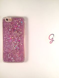 Purple Gold and Silver Hearts and Stars Liquid moving glitter
