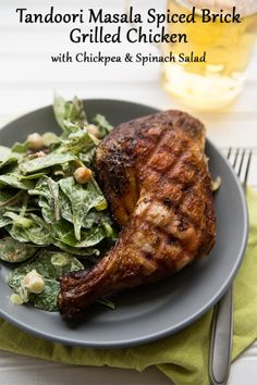 ... spiced grilled chicken with a side of chickpea & spinach salad. #