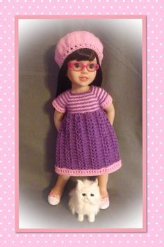 Australian Girl Doll - Annabelle, wearing her new play dress and beret ....... Knitted by me from my own pattern.