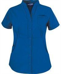 Butter-Soft Scrubs by UA? Women's Solid Mandarin Collar Snap Front Top