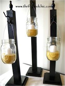 Hanging Mason Jars: for the post you need 1 piece 2x4--4x4 cut square & 5x5 cut square per post (plywood & send through table saw, can also get fence post toppers)--Hooks--Wood glue--Screws--Drill--cut 2x4 in different lengths, 13 to 17inl--screw 4x4 on bottom 2x4-Visit site for full instructions