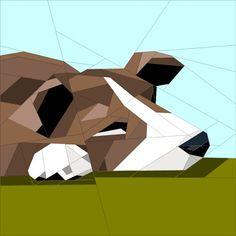 Dog Asleep paper pieced block quiltartdesigns.blogspot.com