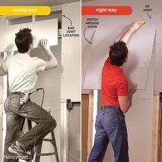 drywall installation tips (ceiling texture) Ceiling Texture Types, Hanging Drywall, Drywall Installation, Drywall Repair, Plasterboard, Diy Home Repair, Basement Remodeling, Basement Ideas, Remodeling Ideas