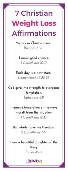 Use these Christian weight loss affirmations for motivation. Don't overlook us… Use these Christian weight loss affirmations for motivation. Don't overlook using Bible verses to … Gewichtsverlust Motivation, Weight Loss Motivation, Weight Loss Tips, Lose Weight, Reduce Weight, Lifting Motivation, Exercise Motivation, Weight Lifting, Bible Scriptures
