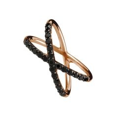 Cross wire ring with stones in silver/pink gold with black spinels