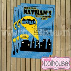 Batman Invitation Printable Batman inspired  by MimisDollhouse, $12.99
