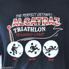 Alcatraz Prison Triathalon XL T-Shirt Training Camp San Francisco Dig Dash Dive