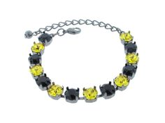 Boston Bruins Black and Gold Inspired Swarovski Crystal 8mm 14 Stone Tennis Bracelet by TriumphCollection