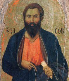 Duccio di Buoninsegna - Maestà, particolare Apostolo Giacomo - 1308-1311 - Tempera e oro su tavola - Museo dell'Opera del Duomo, Siena