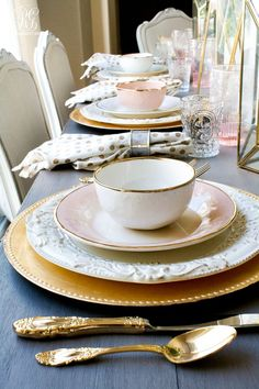Gold rimmed dishes R