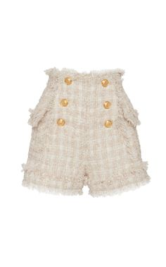 Fringed Tweed Button Shorts by Balmain Resort 2019 Older Women Fashion, Tween Fashion, Womens Fashion, Fashion Trends, Kpop Outfits, Girl Outfits, Cute Outfits, Tweed Shorts, Look Vintage