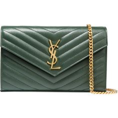 Saint Laurent Monogramme medium quilted textured-leather shoulder bag (9.155 DKK) ❤ liked on Polyvore featuring bags, handbags, shoulder bags, green, yves saint laurent, yves saint laurent purses, shoulder bag handbag, quilted purses and shoulder handbags
