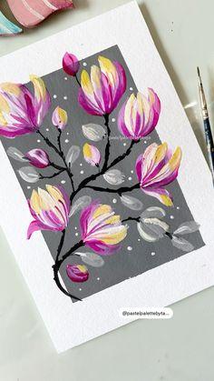 Flower Art Drawing, Easy Flower Painting, Flower Painting Canvas, Painting Techniques, Canvas Painting Tutorials, Painting Videos, Diy Painting, Watercolor Art Lessons, Watercolour