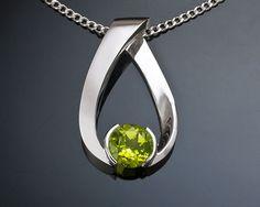 peridot necklace - gemstone jewelry - August birthstone - graduation - silver pendant - eco-friendly - Argentium silver - 3470 via Etsy