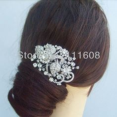 Smile Bridal Hair accessories Rhinestone Crystal Flower Hair * Want additional info? Click on the image.