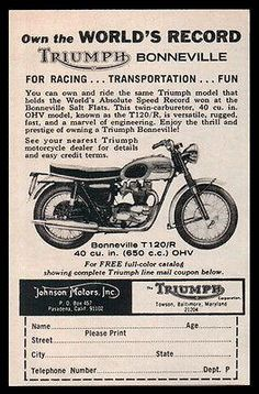Motorcycle Triumph 1964 AD Bonneville T120/R World Speed Record Photo AD