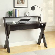 Convenience Concepts Newport Desk with Shelf - Espresso - The Convenience Concepts Newport Desk with Shelf - Espresso is bound to be eye-catching wherever you put it. The legs of the X-cross base extend upwar...