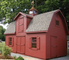 We love how this 14' x 24' Elite Dutch is all red! What color would you choose? Barn Storage, Built In Storage, Mini Barn, Pool Houses, Tiny Houses, She Sheds, Shed Design, Barn Plans, Tiny House Living