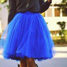 Royal Blue Tulle Skirts Elegant Autumn  Knee Length Woman Tulle Skirt  Ladies Vintage Ball Gowns Custom Made♦️ SMS - F A S H I O N  http://www.sms.hr/products/royal-blue-tulle-skirts-elegant-autumn-knee-length-woman-tulle-skirt-ladies-vintage-ball-gowns-custom-made/ US $26.39