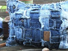 Rectangle denim pillow sham made from by TatteredSisters on Etsy, $20.00
