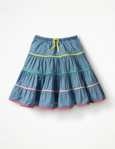 Some skirts are just made for twirling. With a full shape and multiple tiers, this is one of them. Eye-catching embroidered spots, rickrack trims and a bright waist ribbon add a playful touch, while t Little Girl Skirts, Baby Girl Skirts, Baby Skirt, Skirts For Kids, Dresses Kids Girl, Baby Dress, Kids Outfits, Full Skirt Outfit, Girls Skirt Patterns