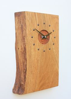 Oblong Oak Wall Clock with Natural Edge and Burr Oak Face