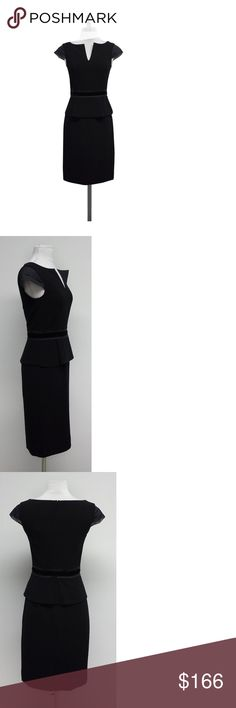 Tory Burch- Black Ashley Cap Sleeve Peplum Dress Sz 0 Upgrade your work wardrobe with this form-fitting sheath dress from Tory Burch. It has details from top to bottom to make you stand out and easily transition from day to night. Size 0 Comes w/original tags Retails for $395 Shell 98% polyester 2% spandex Sleeves 100% silk Lining 95% polyester 5% spandex Peplum facing 100% polyester Split bateau neckline Layered chiffon cap sleeves Velvet & tiered silk waistband Concealed back snap buttons…