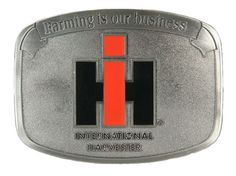 "Buckle has a smooth metal finish with the International Harvester logo finished in red and black enamel. Measures 3 1/8"" x 2 3/8"". Great collector's piece and wardrobe accessory!"