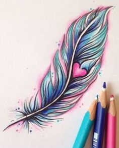 Women Tattoo – Girly colourful feather and heart tattoo by Mermaid Inc Tattoo - Leading Tattoo Magazine & Database, Featuring best tattoo Designs & Ideas from around the world. Girly Tattoos, Trendy Tattoos, Cute Tattoos, Beautiful Tattoos, New Tattoos, Body Art Tattoos, Small Tattoos, Tatoos, Incredible Tattoos