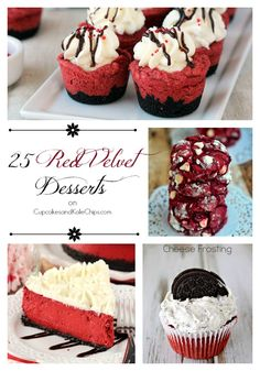25 Red Velvet Desserts - recipes for some of the best sweet treats for Valentine's Day or any day that you want to show someone how much you love them. | cupcakesandkalechips.com